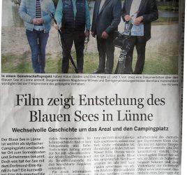 Pressebericht von der NOZ: Film zeigt die Entstehungsgeschichte des Blauen See`s in Lünne